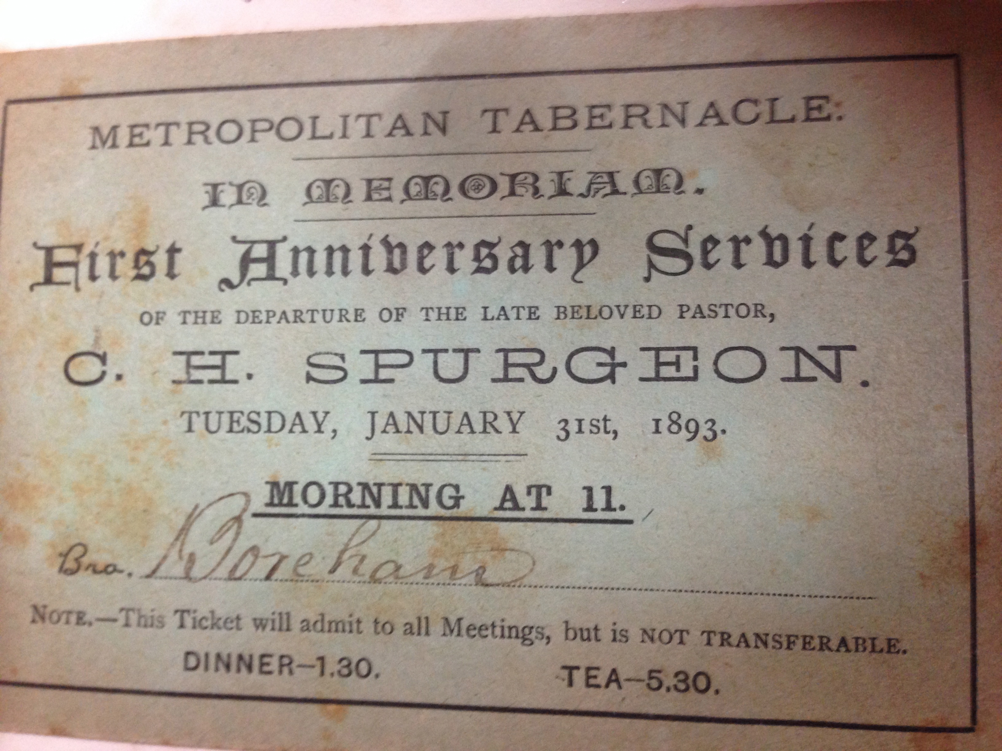 FWB's First anniversary of the death of Charles Haddon Spurgeon memorial ticket