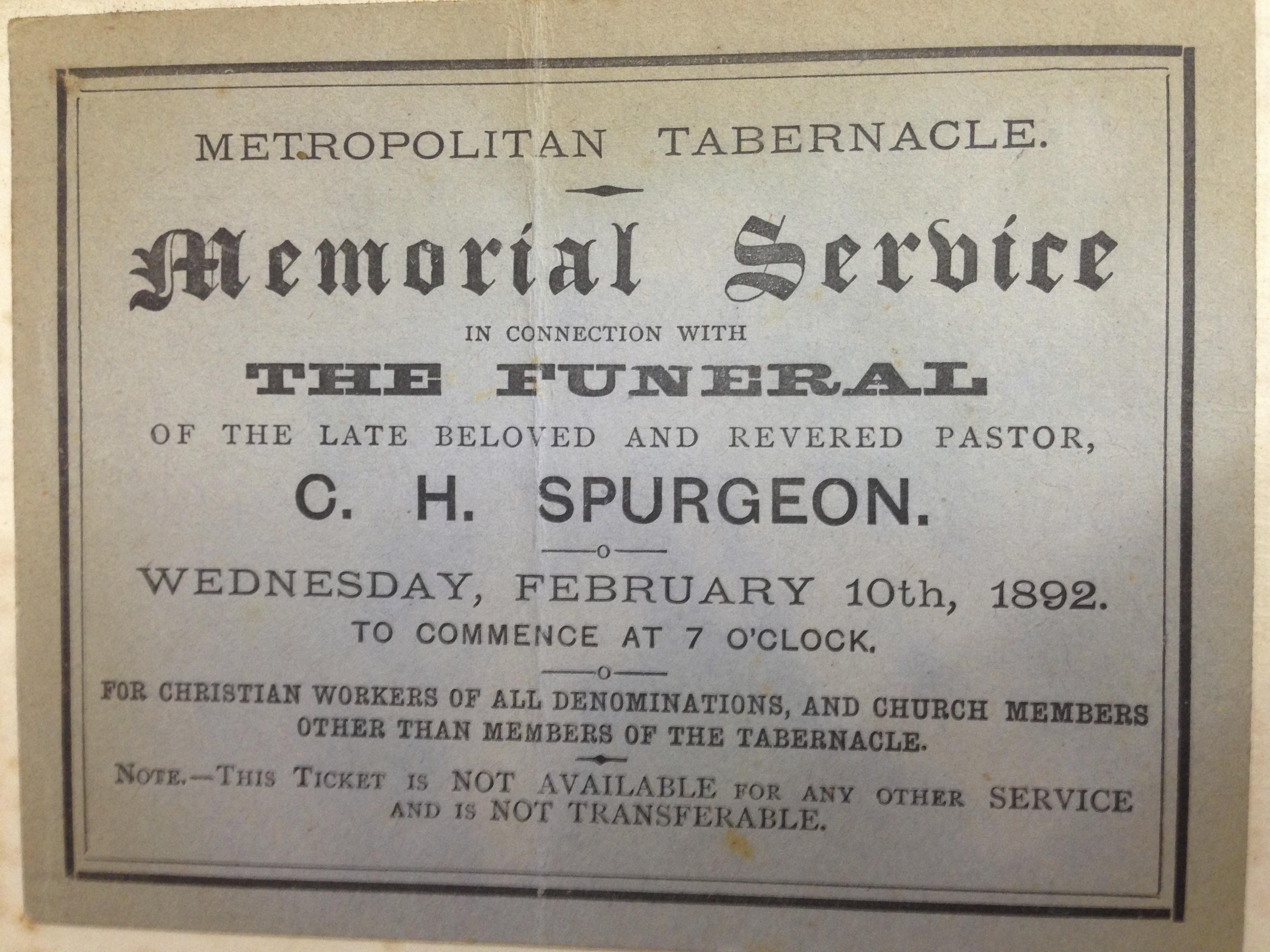 Charles Hadden Spurgeon's Funeral notice