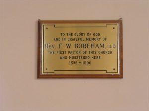 Mosgiel Baptist Memorial Plaque to Rev. F. W. Boreham